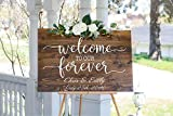 NOT BRANDED Welcome to Our Forever/Wedding Welcome Sign/Wood Wedding Sign/Wedding Entrance Sign/Wedding Ceremony Sign/Rustic Wedding Sign