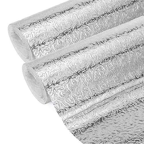 2 Piezas Aluminio Papel Pintado Cocina, Papel Aluminio Autoadhesivo Papel Cocina Impermeable a Prueba Aceite Para Muebles,...