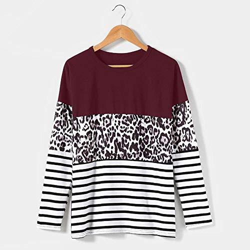 QSDM Camisetas y Blusas para Mujer Sudaderas de Mujer Tops Suéter de Camiseta de Manga Larga con Costuras Superiores de otoño e Invierno para Mujer-Vino Tinto_Metro