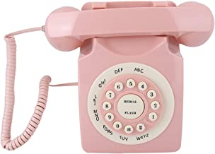 Pink Vintage Telephone, Classic Old Style Retro Landline Phone, Wired European Telephone with Big Buttons for Home Desk Of... photo