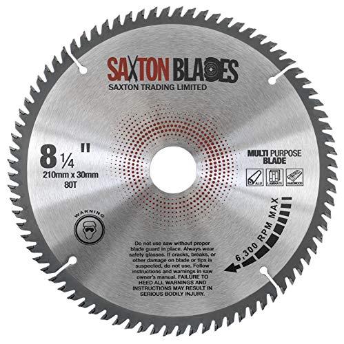 TCT21080TTCG Saxton TCT - Lama per sega circolare, 210 mm x 80 T x 30 mm, foro (anello da 16, 20, 25 mm e 25,4 mm), in laminato di alluminio