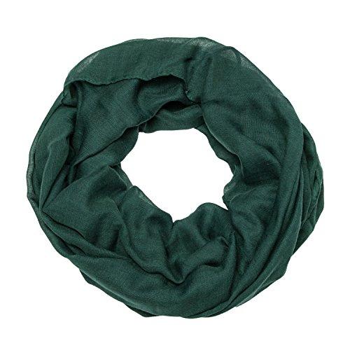 MANUMAR Loop-Schal für Damen einfarbig | feines Hals-Tuch in dunkel-grün als perfektes Herbst Winter Accessoire | Schlauch-Schal | Damen-Schal | Rund-Schal | Geschenkidee für Frauen und Mädchen