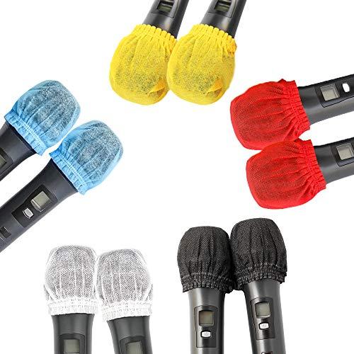 Paquete de 200 fundas de micrófono desechables de colores no tejidos, cubierta...