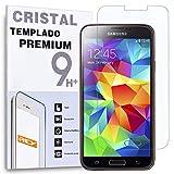 REY Protector de Pantalla para Samsung Galaxy S5 Mini Cristal Vidrio Templado Premium