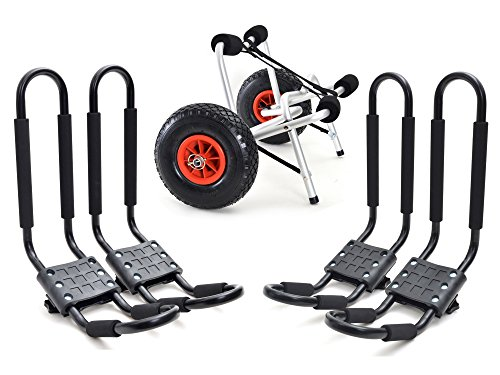 2 Set Roof J rack Kayak Boat Canoe Car SUV top Mount Carrier with 1 Dolly Cart Trailer Carrier Wheels