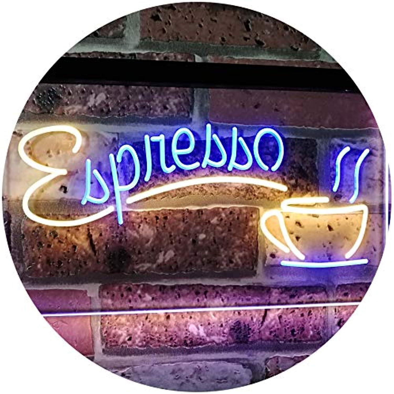 ADVPRO Espresso Coffee Shop Dual Farbe LED Barlicht Neonlicht Lichtwerbung Neon Sign Blau & Gelb 16  x 12  st6s43-i2075-by
