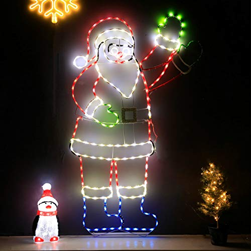 Snokip 5Ft 273 LED Santa Claus Light with Controller, Colorful Neon Light for Outdoor Indoor Home Garden Christmas Festival Party Decoration