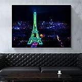 BZCBX Cuadros sobre Lienzo 50x70cm Vista Nocturna de la Ciudad de la Torre Eiffel Lienzo Estampados Imprimir Imágenes para Dormitori Decoración Regalo, Listo para Colgar