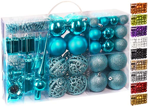 Brubaker 101-teiliges Set Weihnachtskugeln mit Baumspitze Blau Christbaumschmuck
