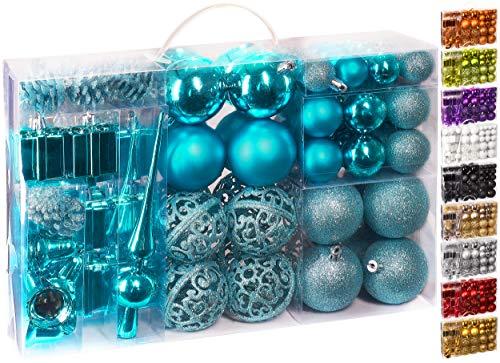 Brubaker Set di 101 Accessori Decorativi per L'Albero di Natale - addobbi Natalizie in Color Blu -...