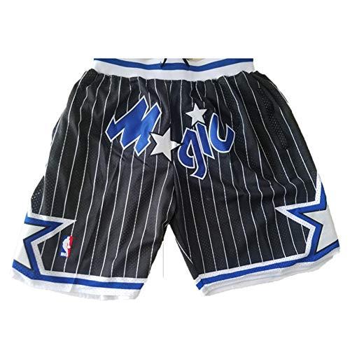 MEIBAO Magic Basketball Shorts Herren Mesh Retro Orlando Magic Swingman Sportshorts (S-XXL) Black-S