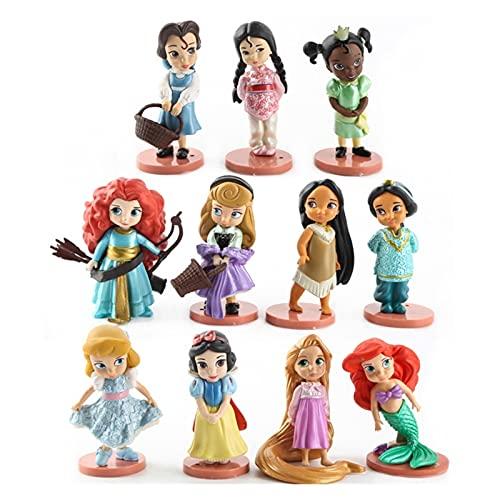 Qinqin Disney Moana Snow Blanco Mérida Princesa Figuras de acción Mulan Mermaid Tiana Jasmine Doll Anime Figurines Kid Toy Modelo Regalo ZSQ (Color : 11pcs)