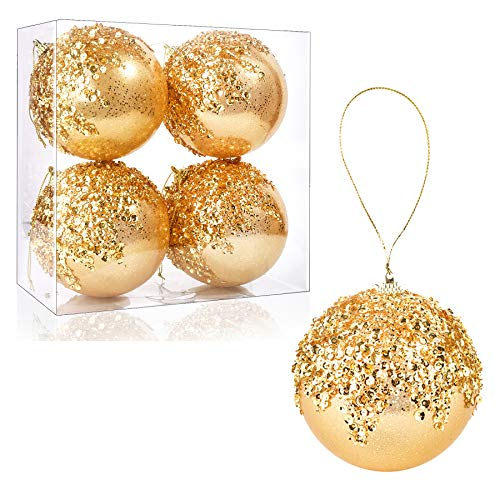 4' Christmas Ball Ornaments, 4pc Set Gold Shatterproof Christmas Decorations Tree Balls for Xmas Trees Wedding Party Holiday Decorations