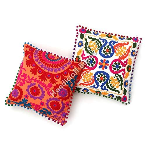 Handicraft Bazarr Set 2 fundas de cojín de algodón Suzani Vintage Suzani fundas de cojín de 16 x 16 pulgadas con bordado étnico cuadrado fundas de almohada Suzani étnico Vintage fundas de cojín bordado Boho