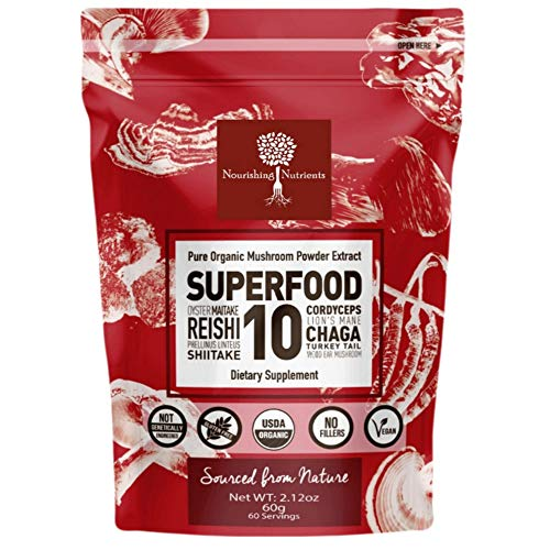 14:1 SUPERFOOD 10 Organic Mushroom Powder Extract Supplement - 100% Pure-USDA- Immunity Booster- Reishi, Chaga, Maitake, Cordyceps, Shiitake, Lions Mane, Turkey Tail & more. Add to Coffee/tea 60g