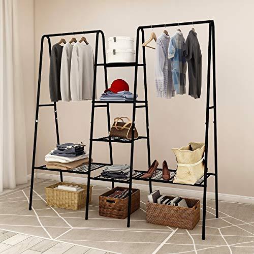 Metal Garment Rack, Free Standing Closet Storage Organizer w/ 6 Shelves & Hanging Bar,Metal Garment Rack Heavy Duty Indoor Bedroom Rack (Black), Open Wardrobe Rack for Hanging Clothes and Storage,