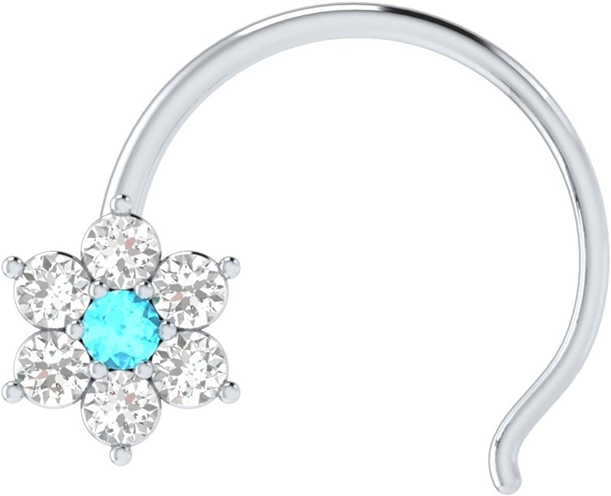Animas Jewels DGLA Certified 14k Max 56% OFF White Flower 35% OFF Pin Nose Gold Ring