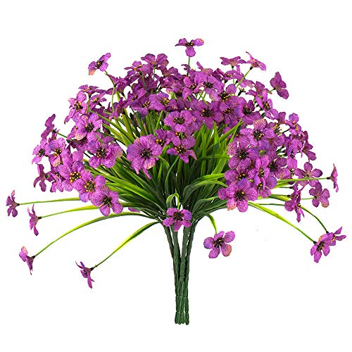 Zonlong Artificial Violet Flowers, 6 Bundles Fake Flowers Plant, UV Resistant No Fade Faux Flower, Hanging Plant, for Garden, Wedding, Farmhouse Indoor or Outdoor etc Decor (Purple)