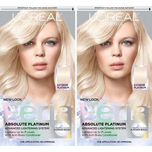L'Oreal Paris Feria Multi-Faceted Shimmering Permanent Hair Color, Extreme Platinum, Pack of 2