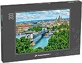 monpuzzlephoto Puzzle 200 pièces Pont à chaînes sur Le Danube à Budapest Hongrie Panorama du Paysage Urbain avec de Vieux bâtiments et des dômes d'opéra