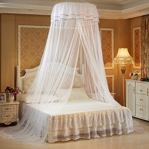 Xshelley Round Double Lace Curtain Dome Bed Canopy Netting Princess Mosquito Net high 270cm,Extra Wide,Extra Long,Extra Intensive,Insect Protection Repellent (White)