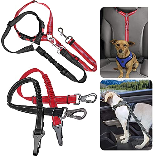 4 Packs Dog Car Seat Belt, Durable Headrest Pet Car Seat Belt, Adjustable Stretchable Car Dogs Restraint with Elastic Bungee Buffer for Travel and Daily Use (2 Black+2 Red)