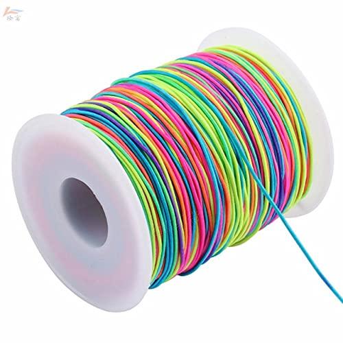 JIUFU 1 Volumen Banda elástica cordón Pulsera Cinta Trenzada arcoíris Cuerda de Goma elástica Accesorios de Cuerda Redonda 1mm 1,2mm 1,5mm