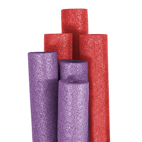 Pool Mate Premium Extra-Large Swimming Pool Noodles, Purple and Red 6-Pack