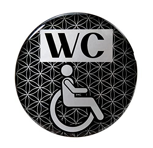 BIKE-label 900112VA Silber 3D Aufkleber Türschild WC Rollstuhl Hinweisschild 90 mm