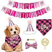 Josopa ペット誕生日パーティー用品 犬 誕生日バンダナ 蝶ネクタイ お誕生日おめでとうバナーケーキ トッパーセット 完璧な犬の誕生日のサプライ品 通気性 調整可能 ピンク