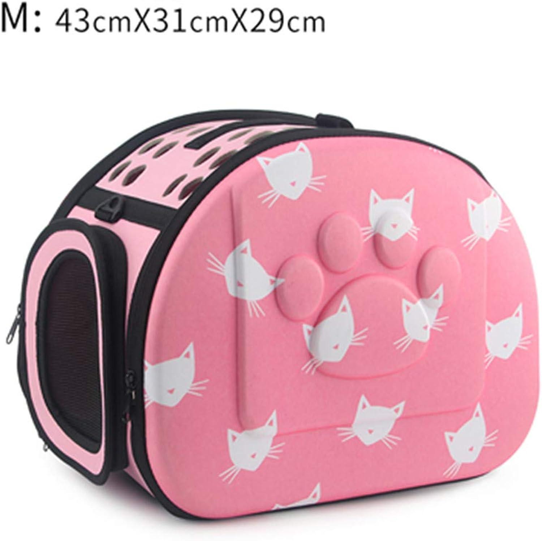 Cat Pattern Carrier Bag Portable Cats Handbag Foldable Travel Bag Puppy Carrying Shoulder Pet Bags Pink 43x31x29cm m as Picture