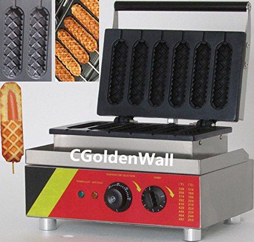 CGOLDENWALL NP-527 6 stuks Hot Dog Waffle Maker Commercial Hot Dog Grill Lolly wafel wafel wafel machine anti-aanbaklaag wafelijzer maïsmachine Rods machine 220V / 110V CE-certificering
