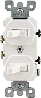Leviton 5224-2W 15 Amp, 120/277 Volt, Duplex Style Single-Pole/Single-Pole AC Combination Switch, Grounding, White