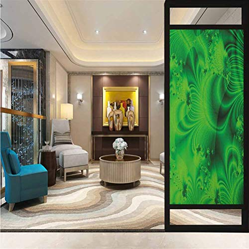 17.7' W x 35.4' L inches,Window Film,Removable Window Sticker Anti-UV Glass Film,Lime Green,Vibrant Abstract Hazy Psychedelic Wavy Color Background Hippie Digital Artificial,Emerald