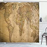 Ambesonne World Map Shower Curtain, Anthique Old World Map in Retro Colors Vintage Nostalgic Design Art Print, Cloth Fabric Bathroom Decor Set with Hooks, 70' Long, Coffee Cream