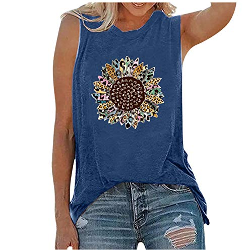 Hippie Tank Tops for Women Vintage Graphic Tees Casual Summer Vacation Sleeveless T-Shirt Sunflower Vest Shirts