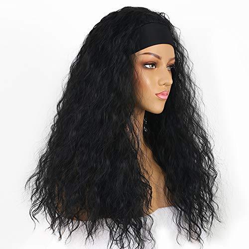 QingJun Black Headband Wigs for Black Women,Synthetic Headband Wig,Headwrap...