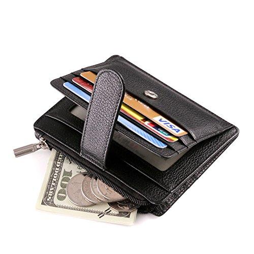 Teemzone Tarjetero Monedero de Piel de Hombre Mujer Cremallera Monedas Bolsillo (Negro)
