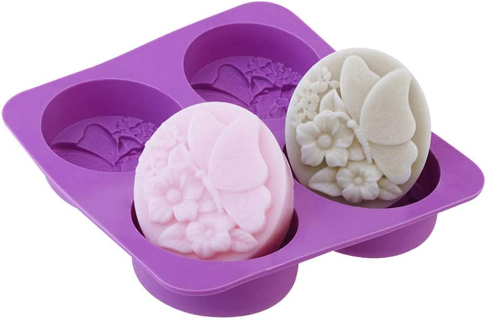Echodo 4 Cavities Sales Oval Butterfly Flower Mold Free shipping anywhere in the nation H Soap DIY Silicone