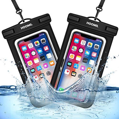 HOOMIL wasserdichte Handyhülle, Universal Wasserdicht Handytasche Unterwasser IPX8 Wasserfeste Handy Hülle für iPhone 12 Pro Max/12 Mini/12/12 Pro, iPhone SE 2020/8/7/Plus - Schwarz & Schwarz