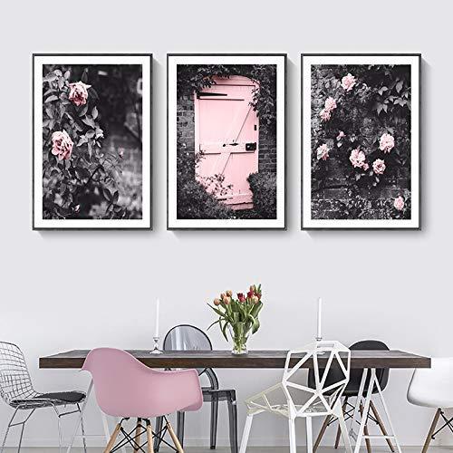 WEIZI Pintura Arte de la Lona Pinturas al óleo 3 Pack Blanco y Negro Flor Rosa Pintura Decorativa 35X50cm: Amazon.es: Hogar