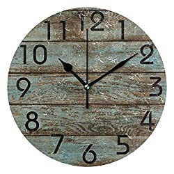 YiGee Vintage Retro Rustic Wood Quiet Wall Clock - 10 Inch Quality Quartz Battery Operated Round Analog Silent Easy to Read Home/Office/School Clock