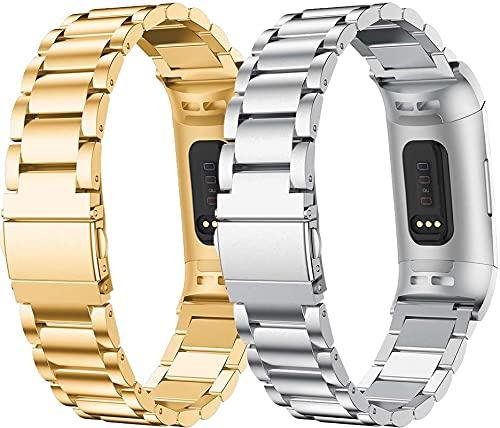 Classicase Correa Metálica de Reloj de Liberación Rápida Compatible con Fitbit Charge 4 / Charge 4 SE/Charge 3 SE/Charge 3, Pulsera Reloj de Acero Inoxidable (Pattern 2+Pattern 3)