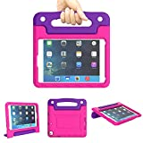 A ADENK Kids Case for iPad Mini 1 2 3 4 5 Generation 7.9 inch- Lightweight Shockproof Convertible Protection Cover with Built-in Handle Stand Tablet - 2019 Retina Display (Purple & Rose)