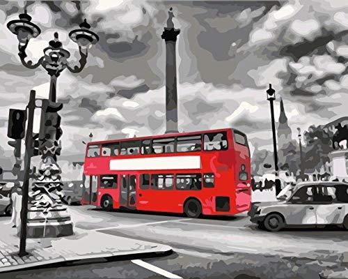 zglizty Pintar por Numeros para Adultos Autobús De La Calle Niños Pintura por Números con Pinceles Y Pinturas Decoraciones Decoraciones para El Hogar-16 * 20 Pulgadas(Sin Marco)
