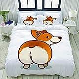 Funda nórdica, Ilustración de dibujos animados de vector de lindo perro Welsh Corgi sonriente aislado sobre fondo blanco, juegos de cama decorativos de 3 piezas con 1 funda de edredón y 2 fundas de al