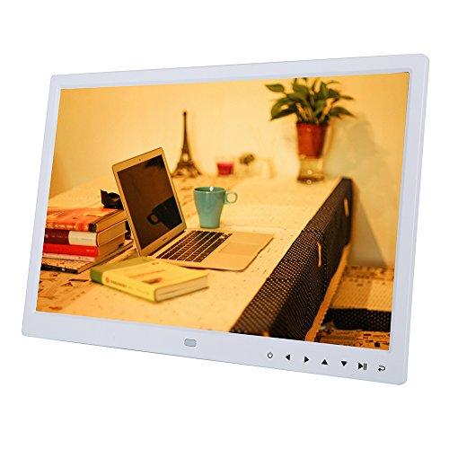 VBESTLIFE Cornice Digitale da 15 Pollici Elettronico Digitale Sottile Immagine/Foto 1280 * 800 HD Touch Screen Digital Photo Frame Orologio Sveglia con Telecomando(Bianco)