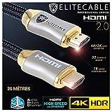 Cavo HDMI 2.0 20 m 4K HDR UHD High Speed Ethernet 3D Arc Nylon Intrecciato Lettore Blu-Ray Xbox 360 PS3 PS4 TV