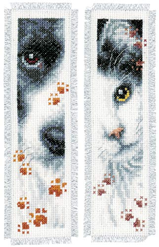 Vervaco Cross Stitch Bookmark Dog and Cat (Set of 2) 2.4' x 8' PN-0155651