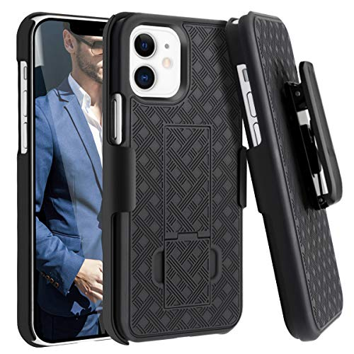 Fingic Compatible with iPhone 12 Case, iPhone 12 Pro Holster Case Combo Shell Slim Rugged Case Built-in Kickstand Swivel Belt Clip Holster Shockproof Cover for Apple iPhone 12/12 Pro 6.1 inch, Black